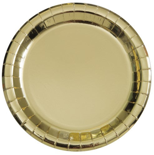 Gold Foil Paper Plates - 23cm (Pack of 8)