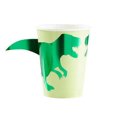 Green Paper Dinosaur Cups - 260ml (Pack of 8)