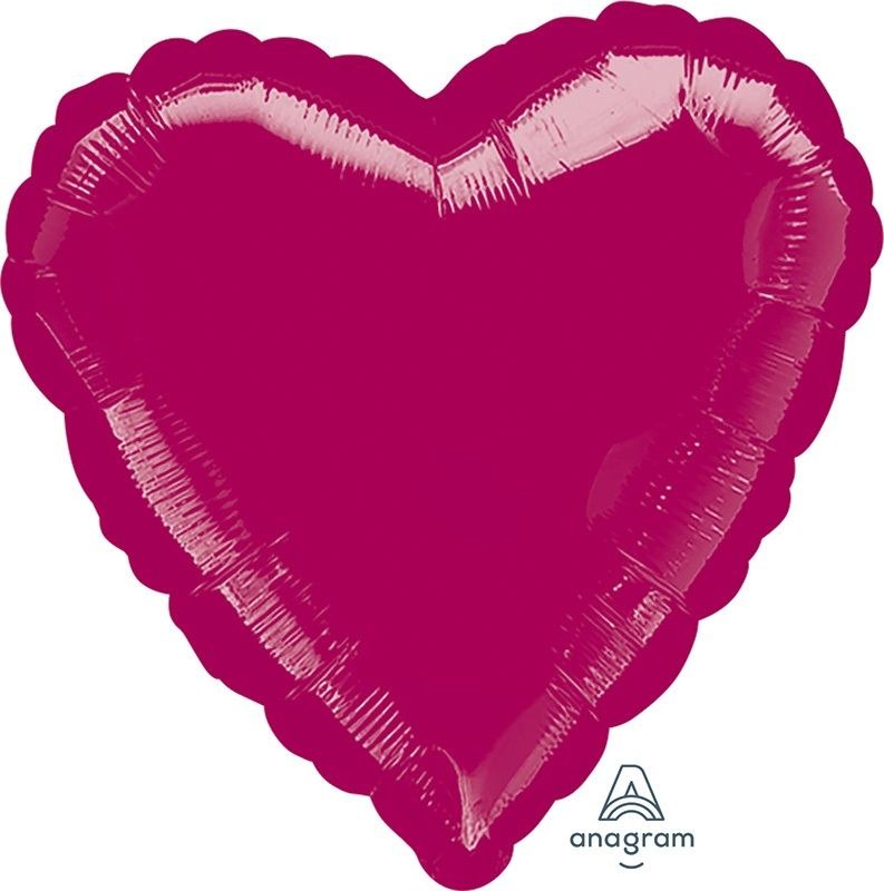 Heart Shaped Foil Balloon | Burgundy - Helium Filled