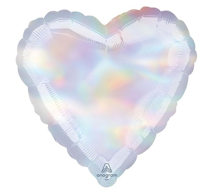Heart Shaped Foil Balloon | Iridescent Heart - Helium Filled