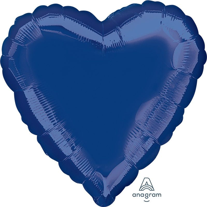 Heart Shaped Foil Balloon | Navy Blue - Helium Filled
