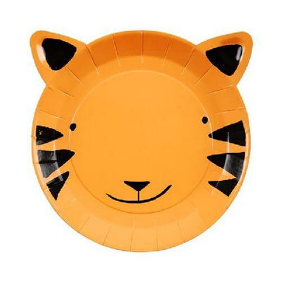 Jungle Tiger Shaped Paper Plates - 16cm (Pack of 12)