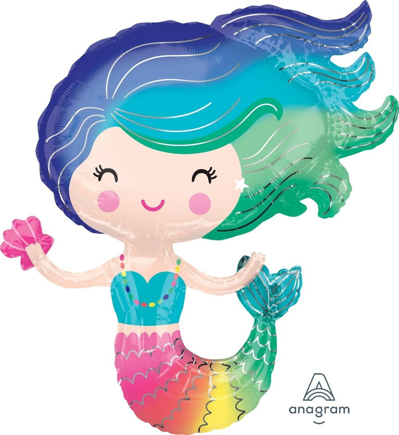 Mermaid Shaped Foil Balloon 76cm x 76cm - Helium Filled