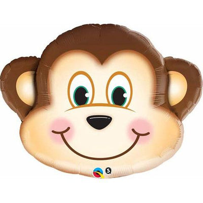 Monkey Head Shaped Foil Balloon 89cm - Helium Filled