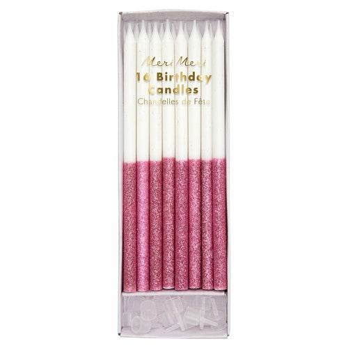 Cake Birthday Candles Glitter Pink Dip (Pack of 16)