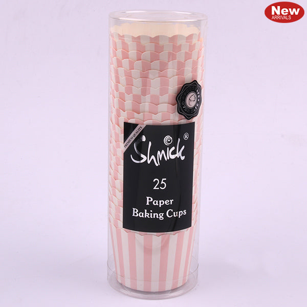 Cupcake Baking Cups - Pink Striped (Pack of 25)