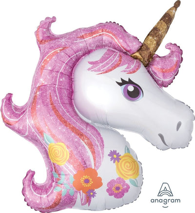 Unicorn Shaped Foil Balloon 83cm x 73cm - Helium Filled