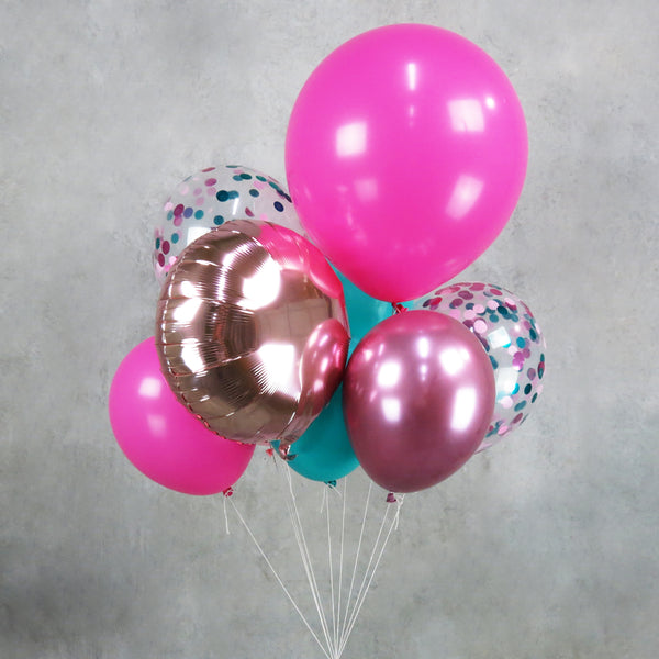 Pink Green Mermaid Helium Balloon Centerpiece Bouquet
