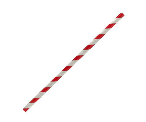 Red Stripe Paper Straw - Regular (Pack of 50 / Box of 2500)