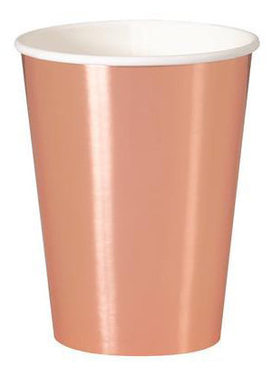 Rose Gold Foil Paper Cups - 270ml (Pack of 8)