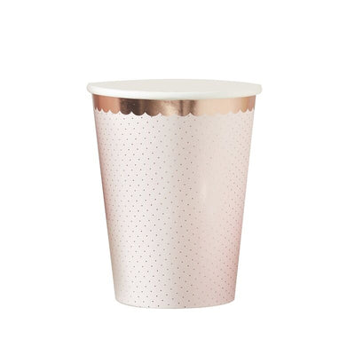 Rose Gold Foil Polka Cups - 260ml (Pack of 8)