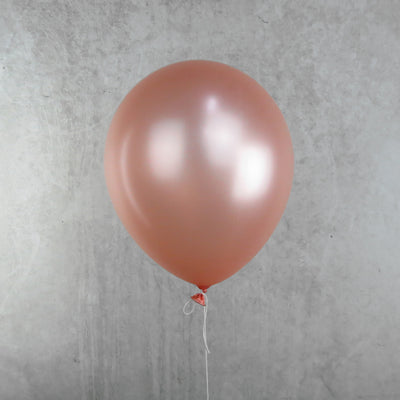 30cm Round Metallic Rose Gold Balloons - You Fill (Pack of 5)