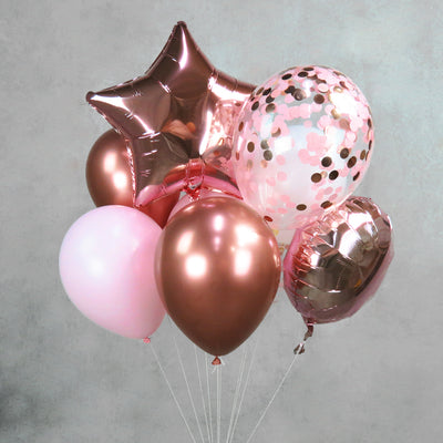 Foil Rose Gold Balloon Pink Helium Centerpiece