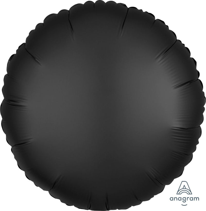 Round Shaped Foil Balloon | Satin Black - Helium Filled