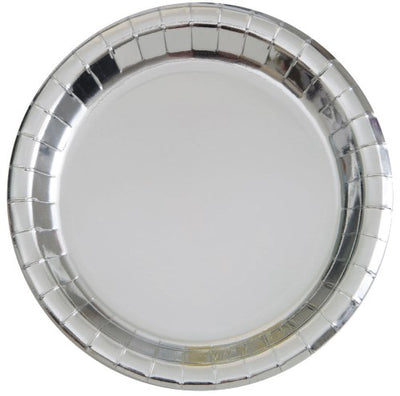 Silver Foil Paper Plates - 23cm (Pack of 8)