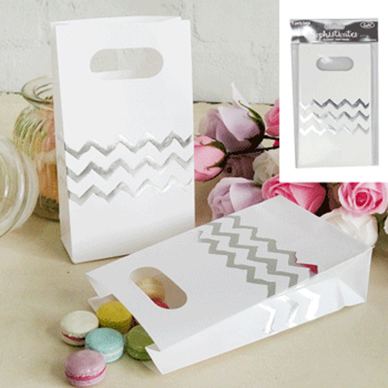 Chevron Bags - Silver (Pack of 6)