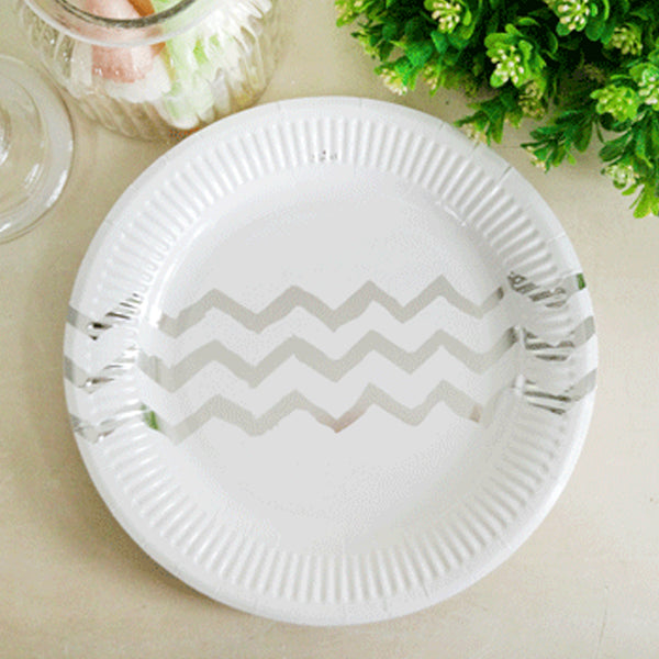 Paper Silver Chevron Plate 23cm - (Pack of 12)