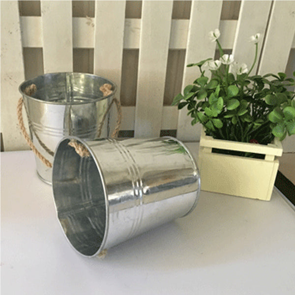 Metal Bucket - Silver (Rope Handle)