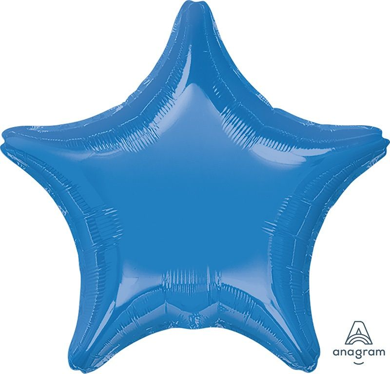 Star Shaped Foil Balloon | Bright Blue - Helium Filled