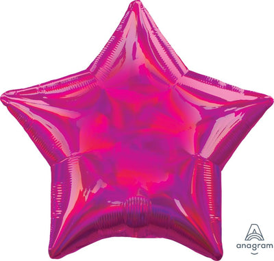 Star Shaped Foil Balloon | Iridescent Magenta - Helium Filled