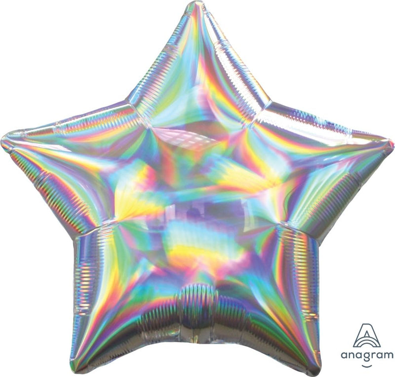 Star Shaped Foil Balloon | Iridescent Silver - You Fill