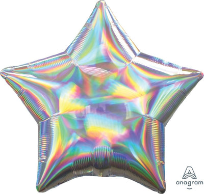 Star Shaped Foil Balloon | Iridescent Silver - Helium Filled