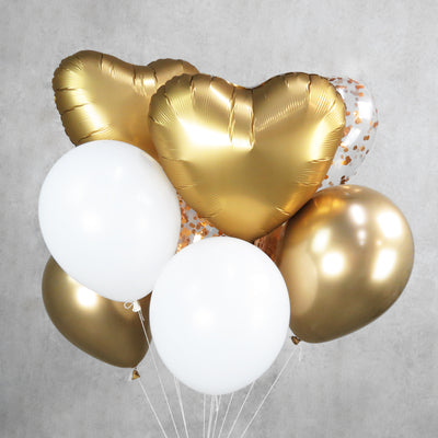White And Gold Helium Balloon Bouquet