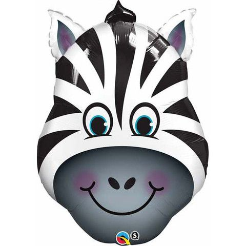 Zebra Head Shaped Foil Balloon 82cm - Helium Filled