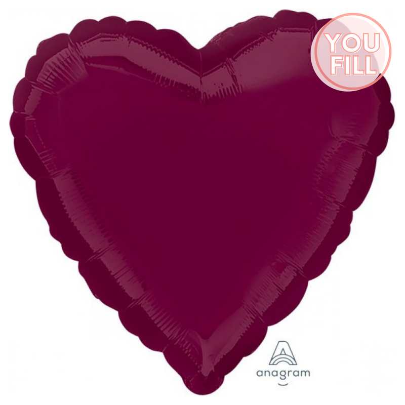 Heart Shaped Foil Balloon | Berry - You Fill