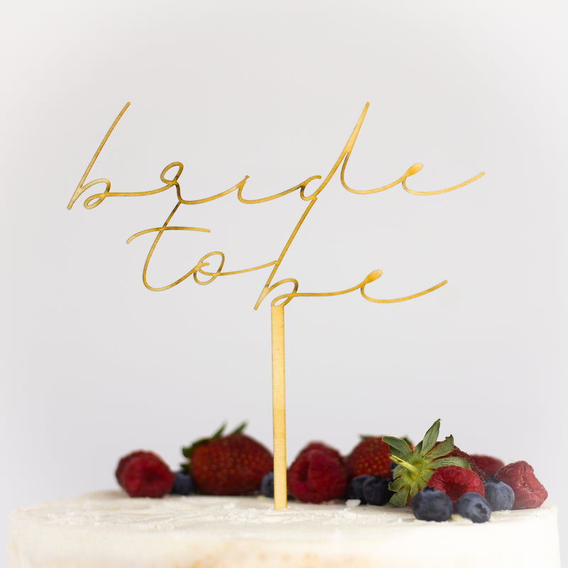Personalised Cake Topper | Elegant Font in Gold, Rose Gold, Silver or Wood