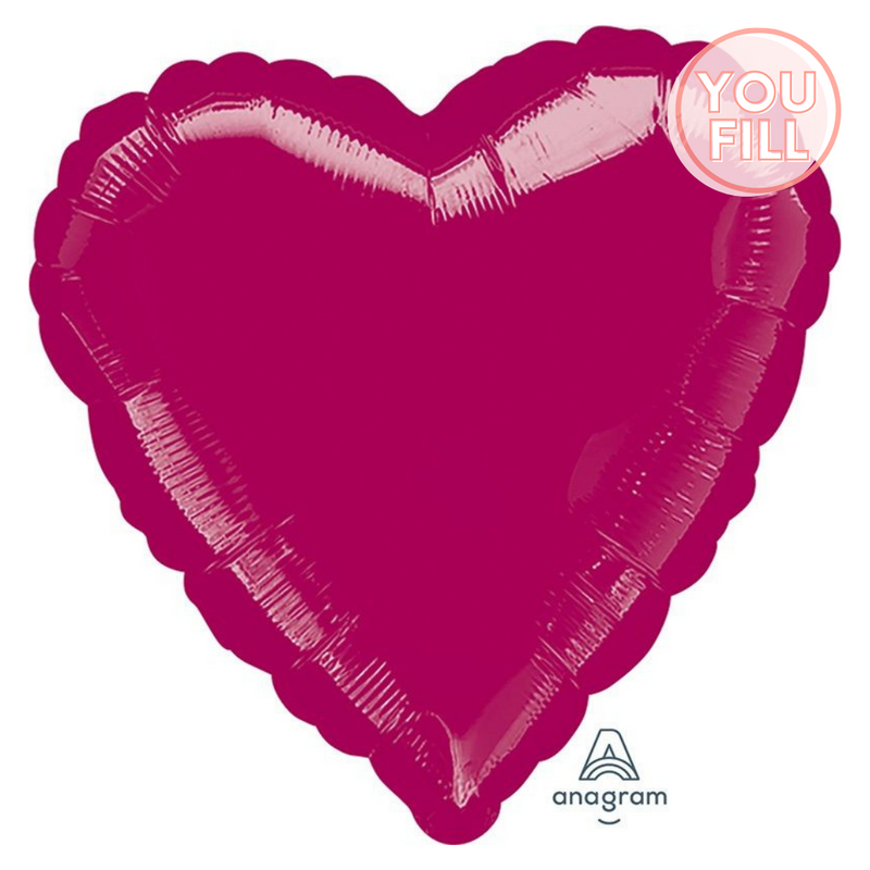 Heart Shaped Foil Balloon | Burgundy - You Fill