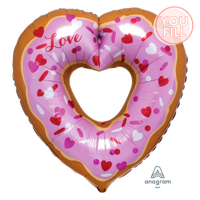 Doughnut Heart Shaped Foil Balloon 63cm x 66cm - You Fill