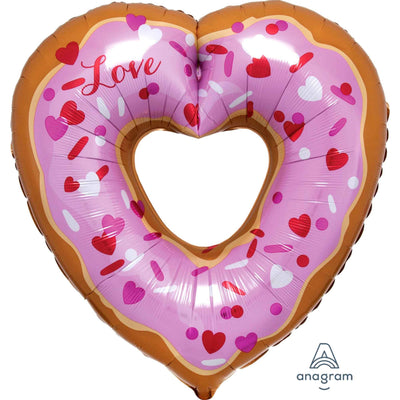 Doughnut Heart Shaped Foil Balloon 63cm x 66cm - Helium Filled