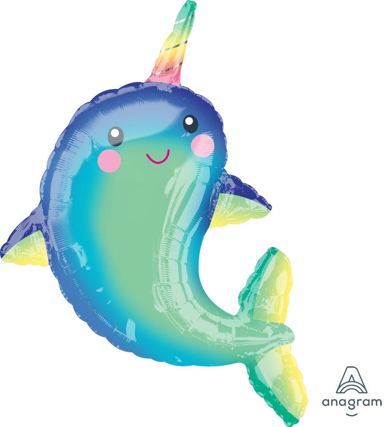 Happy Narwhal Shaped Foil Balloon 73cm x 99cm - Helium Filled