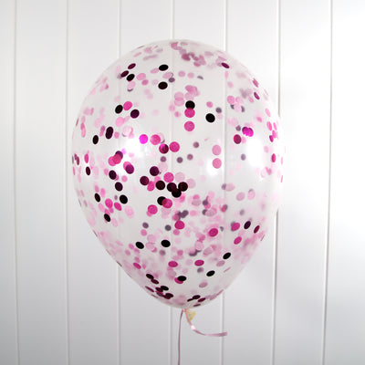 30cm Flamingo Pink (1cm) Confetti Balloons - Helium Filled | 7-12 Hour Float Time