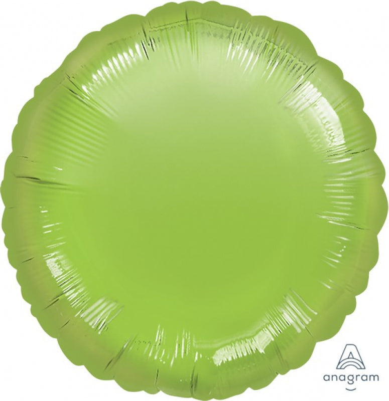 Round Shaped Foil Balloon | Metallic Lime Green - Helium Filled