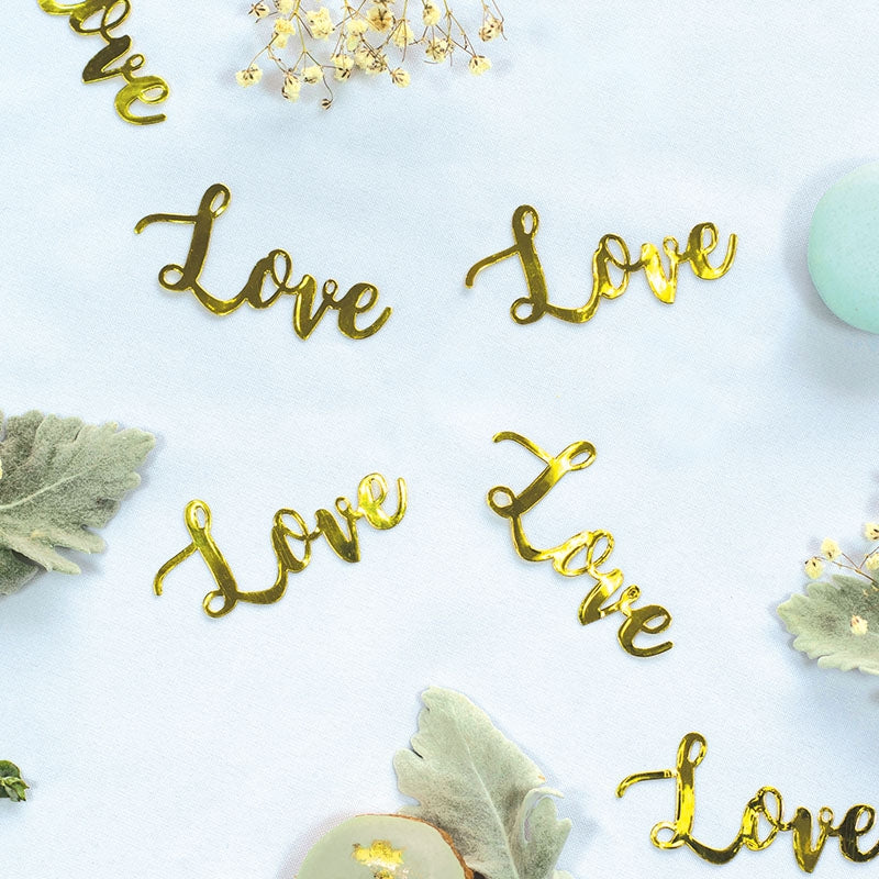 LOVE Foil Jumbo Confetti Gold (Pack of 20)