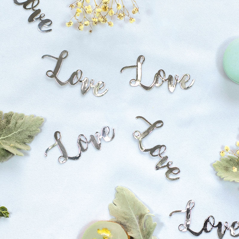 LOVE Foil Jumbo Confetti Silver (Pack of 20)