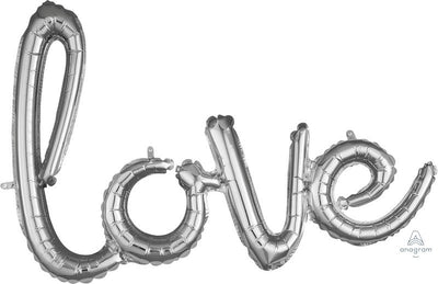 Love Script Foil Balloon 78cm x 53cm | Silver - Air Filled