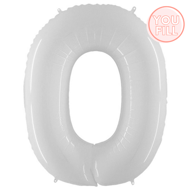 100cm Matte White Number Foil Balloons (0-9) - You Fill