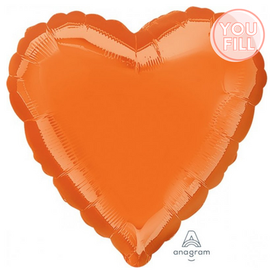 Heart Shaped Foil Balloon | Metallic Orange - You Fill