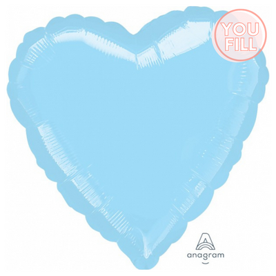 Heart Shaped Foil Balloon | Pearl Pastel Blue - You Fill