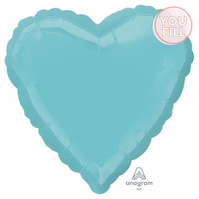 Heart Shaped Foil Balloon | Robins Egg Blue - You Fill