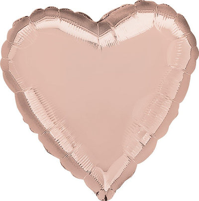 Heart Shaped Foil Balloon | Rose Gold - Helium Filled