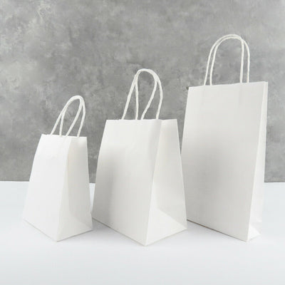 White Kraft Paper Bags with Handles - 6 Sizes