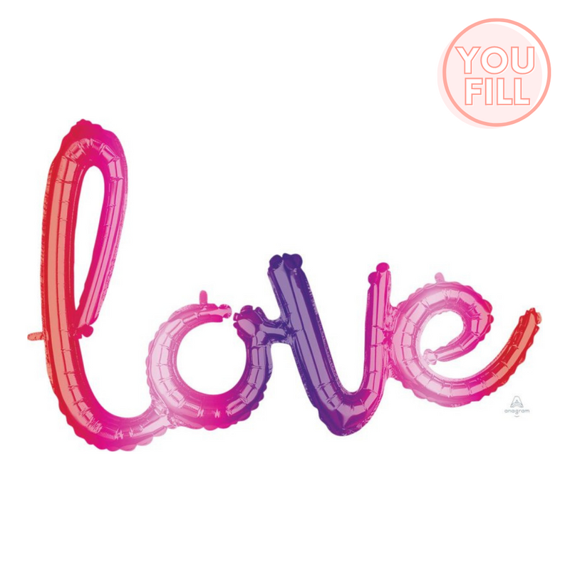 Love Script Foil Balloon 78cm x 53cm | Ombre - You Fill