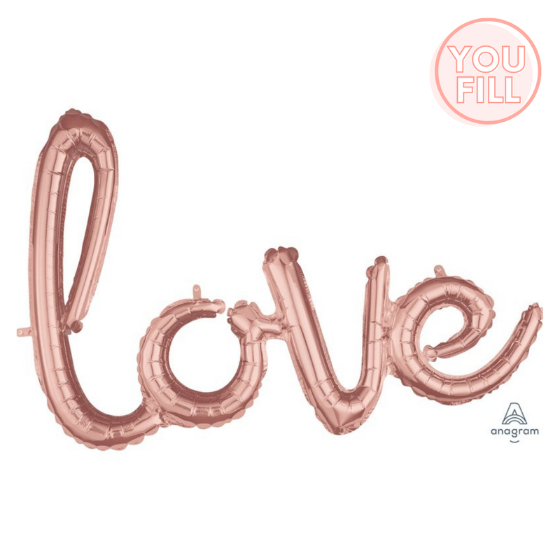 Love Script Foil Balloon 78cm x 53cm | Rose Gold - You Fill