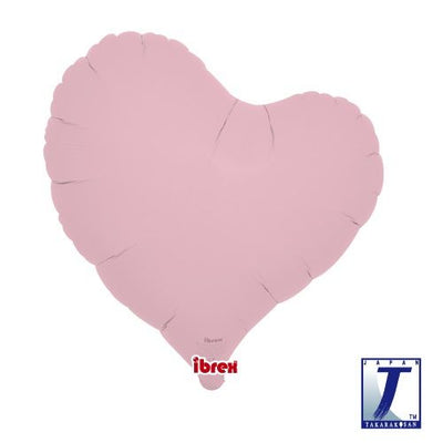 Slanted Heart Shaped Foil Balloon | Matte Pastel Pink - Helium Filled