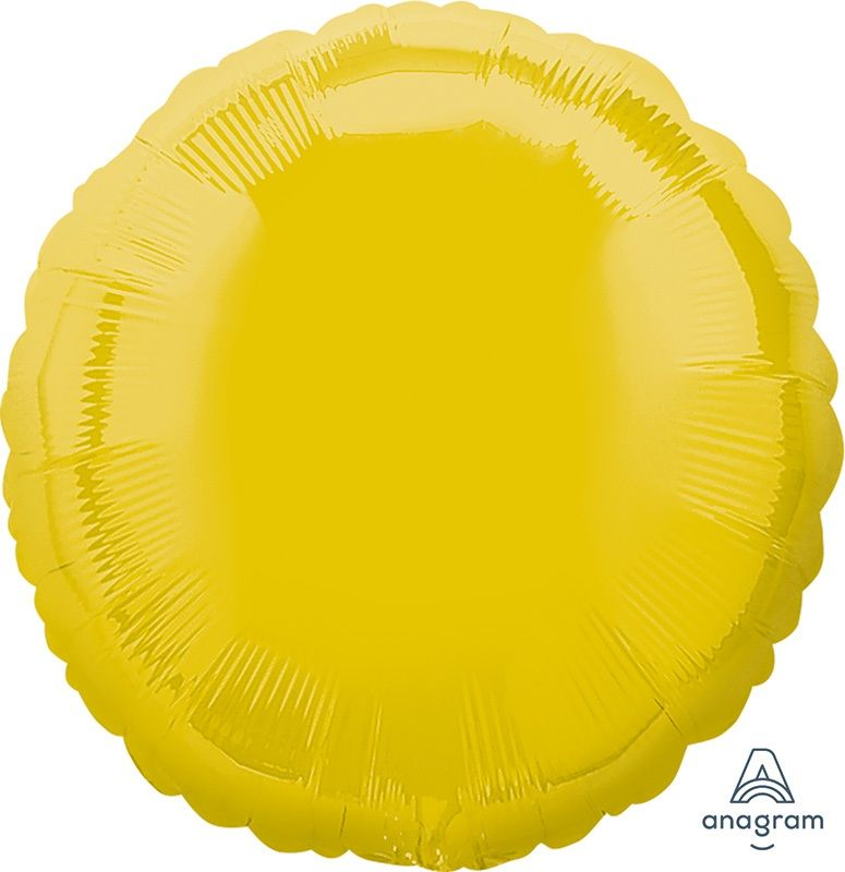 Round Shaped Foil Balloon | Yellow - Helium Filled