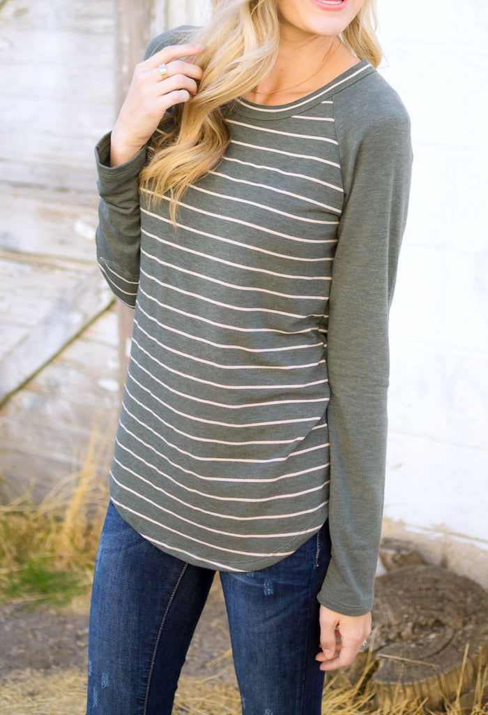 Striped Baseball Top in Olive
